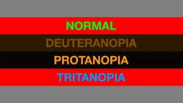 Visión normal, deuteranopia, protanopia y tritanopia.