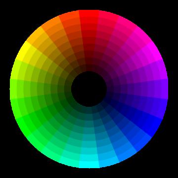 Círculo cromático en gradientes separados 15°.