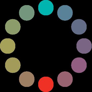 Círculo cromático: esquema complementario DEO.