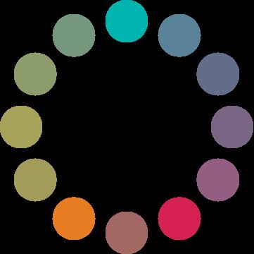 Círculo cromático: esquema complementario dividido DEO.