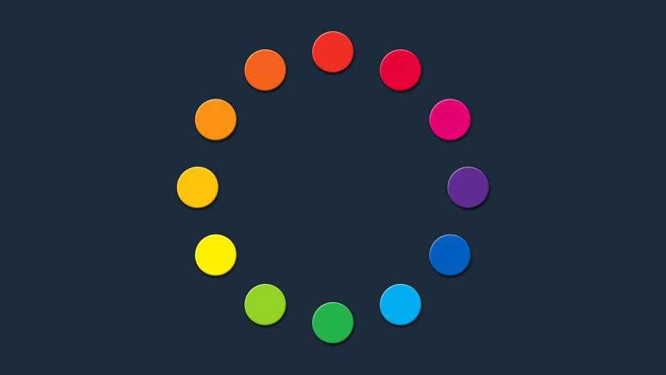 Círculo cromático GSG: los 12 colores básicos.