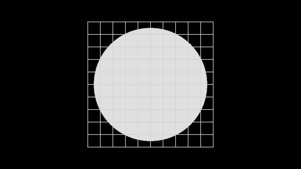 CEM · Creación de la marca, paso 0: se divide el espacio en cuadrados de lado = 1/9.