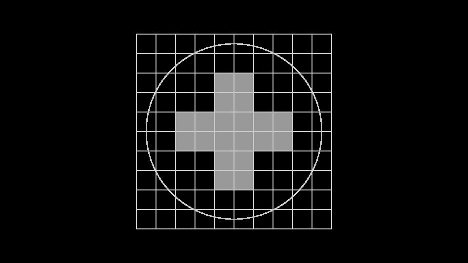 CEM. Creación de la marca, paso 1: Se dibuja una cruz central de apoyo.