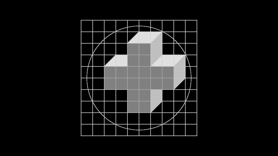 CEM · Creación de la marca, paso 2: se construye la axonometría de guía.