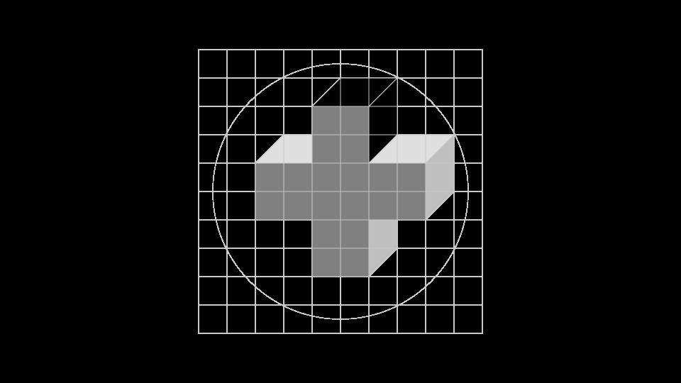CEM · Creación de la marca, paso 3: Se selecciona la proyección (extrusión) superior de la cruz.